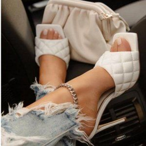 Square Toe Quilted Mules in White